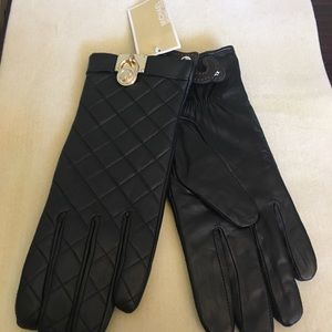 Michael Kors black leather gloves size xl